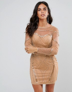 photo Long Sleeved Embellished Bodycon Dress by Forever Unique, color Rose Gold - Image 1
