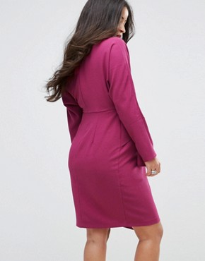 photo Batwing Midi Dress with Wrap Skirt by ASOS Maternity, color Purple - Image 2