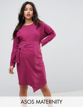 photo Batwing Midi Dress with Wrap Skirt by ASOS Maternity, color Purple - Image 1