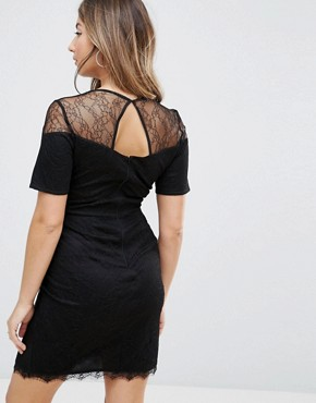 photo Lace T-Shirt Dress with Sweetheart Neckline by ASOS Maternity, color Black - Image 2