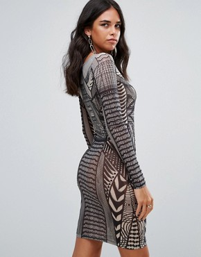 photo Patterned Bodycon Mini Dress by Forever Unique, color Geo Print - Image 2