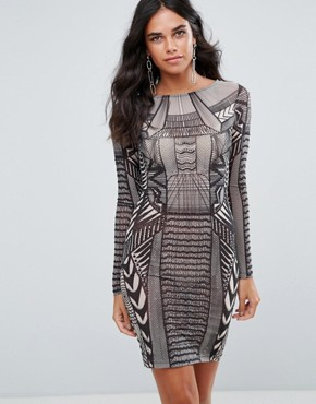 photo Patterned Bodycon Mini Dress by Forever Unique, color Geo Print - Image 1