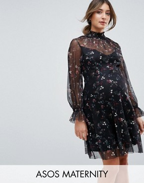 photo Printed Mesh Swing Dress with Shirred Neck by ASOS Maternity, color Multi - Image 1