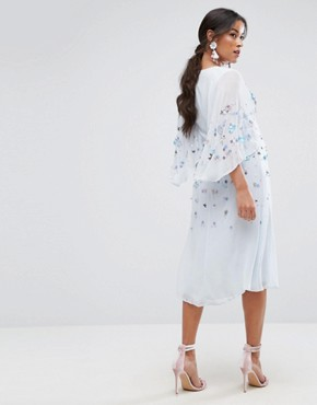photo Embellished Kimono Midi Dress by ASOS Maternity, color Ice Blue - Image 2