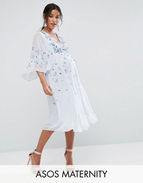 photo Embellished Kimono Midi Dress by ASOS Maternity, color Ice Blue - Image 1