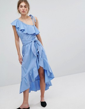 photo Cold Shoulder Ruffle Dress by Style Mafia, color Blue - Image 1