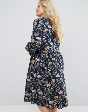 photo Long Sleeve Floral Midi Dress with Frill Sleeve and Tie Neck by Alice & You, color Multi - Image 2