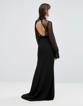 photo High Neck Long Sleeve Lace Maxi with Velvet Trims by TFNC, color Black - Image 2
