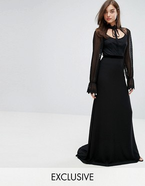 photo High Neck Long Sleeve Lace Maxi with Velvet Trims by TFNC, color Black - Image 1