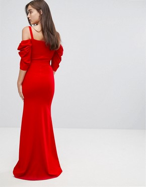 photo Fishtail Maxi Dress with 80'S Off Shoulder by TFNC, color Red - Image 2