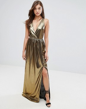 photo V-Neck Maxi Dress with Pleated Back Panels by TFNC, color Gold - Image 2
