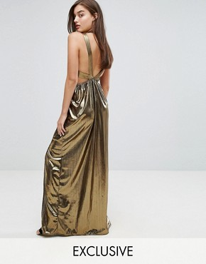 photo V-Neck Maxi Dress with Pleated Back Panels by TFNC, color Gold - Image 1