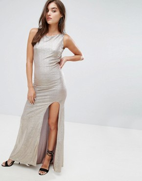 photo Highneck Metallic Maxi Dress with Back Knot by TFNC, color Gold - Image 2