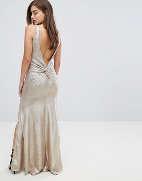 photo Highneck Metallic Maxi Dress with Back Knot by TFNC, color Gold - Image 1