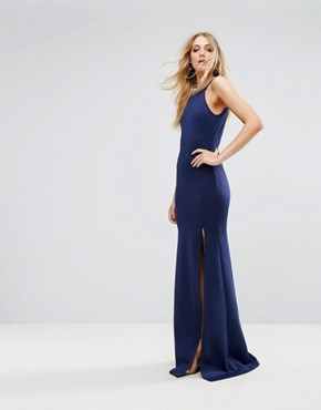 photo Highneck Maxi Dress with Embellished Back by TFNC Tall, color Navy/Gold - Image 2