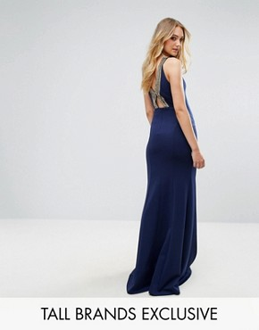 photo Highneck Maxi Dress with Embellished Back by TFNC Tall, color Navy/Gold - Image 1