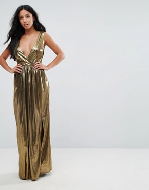 photo V-Neck Maxi Dress with Pleated Back Panels by TFNC Petite, color Gold - Image 2