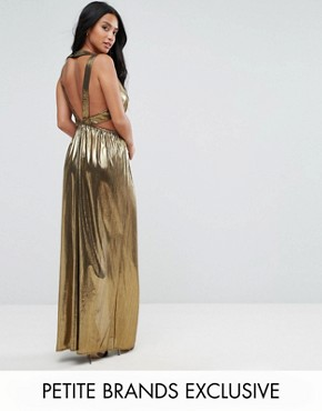 photo V-Neck Maxi Dress with Pleated Back Panels by TFNC Petite, color Gold - Image 1