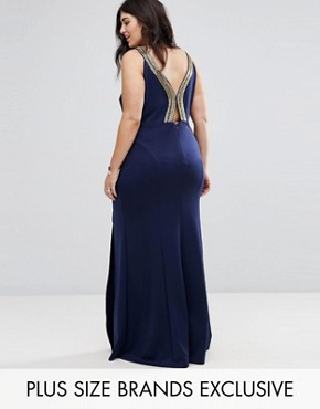 photo Highneck Maxi Dress with Embellished Back by TFNC Plus, color Navy/Gold - Image 1