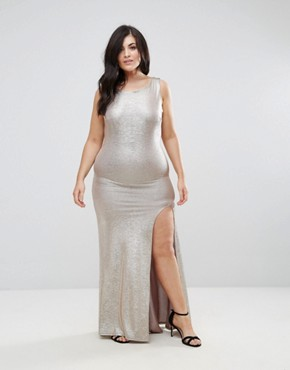 photo High Neck Metallic Maxi Dress with Back Knot by TFNC Plus, color Gold - Image 2