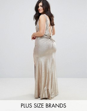 photo High Neck Metallic Maxi Dress with Back Knot by TFNC Plus, color Gold - Image 1