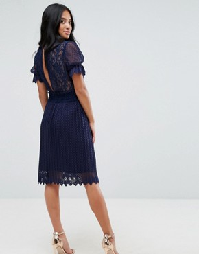 photo High Neck Pleated Lace Midi Dress with Smoked Waist by TFNC Petite, color Navy - Image 2