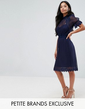 photo High Neck Pleated Lace Midi Dress with Smoked Waist by TFNC Petite, color Navy - Image 1