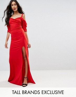 photo Fishtail Maxi Dress with 80'S Off Shoulder by TFNC Tall, color Red - Image 1