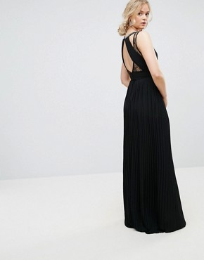 photo High Neck Embellished Maxi Dress with Lace Insert by TFNC Tall, color Black - Image 2