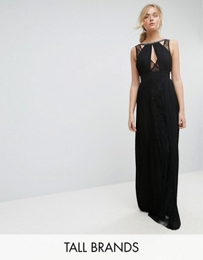 photo High Neck Embellished Maxi Dress with Lace Insert by TFNC Tall, color Black - Image 1