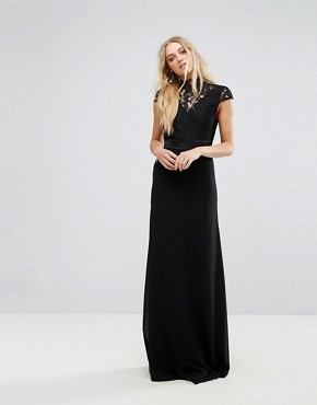 photo High Neck Lace Maxi with Scallop Back by TFNC Tall, color Black - Image 2