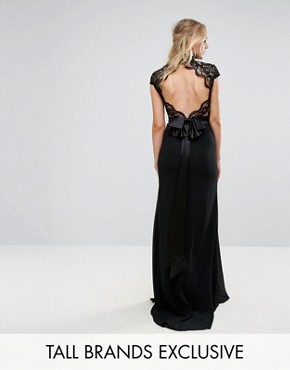 photo High Neck Lace Maxi with Scallop Back by TFNC Tall, color Black - Image 1