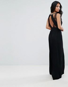 photo High Neck Embellished Maxi Dress with Lace Insert by TFNC Petite, color Black - Image 2