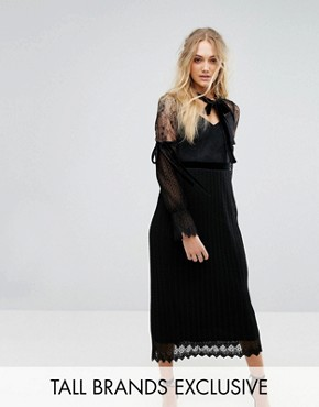 photo High Neck Pleated Lace Midi Dress with Long Sleeves and Velvet Strips by TFNC Tall, color Black - Image 1