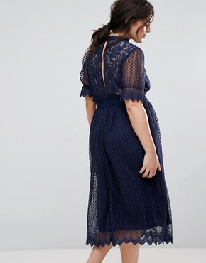photo High Neck Pleated Lace Midi Dress with Smocked Waist by TFNC Plus, color Navy - Image 2