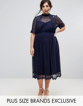 photo High Neck Pleated Lace Midi Dress with Smocked Waist by TFNC Plus, color Navy - Image 1