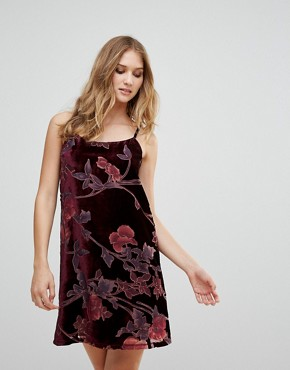 photo Burnt Out Floral Velvet Cami Dress by RD & Koko, color Black - Image 1