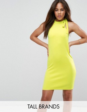 photo Scuba Shift Dress with Tie Neck by Oh My Love Tall, color Sulphur - Image 1