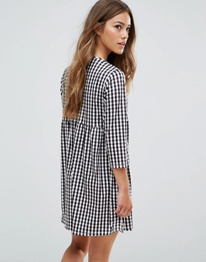 photo Gingham Print Smock Dress with Long Sleeve by ASOS PETITE, color Multi - Image 2