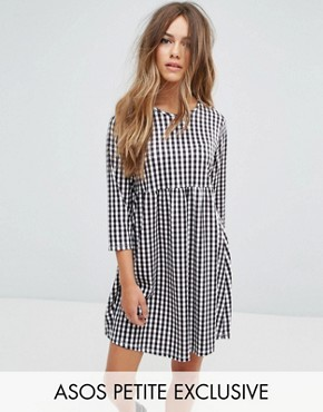 photo Gingham Print Smock Dress with Long Sleeve by ASOS PETITE, color Multi - Image 1