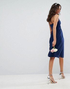 photo Lace Mesh Insert Cami Midi Dress by ASOS WEDDING, color Navy - Image 2