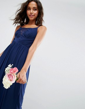 photo Lace Mesh Insert Cami Midi Dress by ASOS WEDDING, color Navy - Image 3