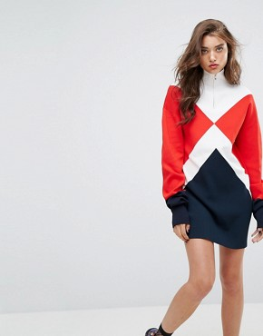 photo Gigi Hadid Argyle High Neck Knitted Dress by Tommy Hilfiger, color White/True Red - Image 1