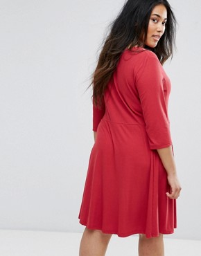 photo 3/4 Sleeve Skater Dress by Junarose, color Deep Claret - Image 2