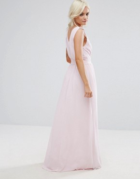 photo Wrap Front Maxi Dress with Embellishment by TFNC Petite WEDDING, color Ballet Pink - Image 2