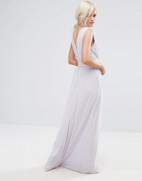 photo Wrap Front Maxi Dress with Embellishment by TFNC Petite WEDDING, color Lilac - Image 2