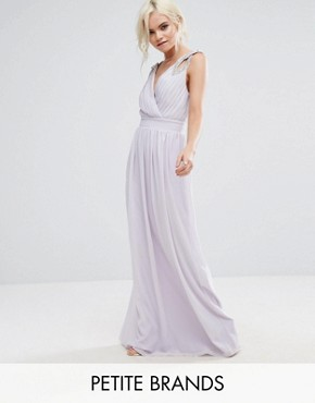 photo Wrap Front Maxi Dress with Embellishment by TFNC Petite WEDDING, color Lilac - Image 1