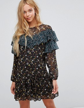 photo Floral Frill Mesh Dress by Vila, color Black - Image 1