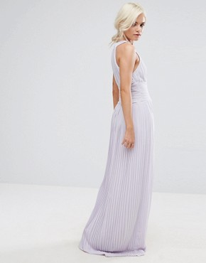 photo High Neck Pleated Maxi Dress by TFNC Petite WEDDING, color Lilac - Image 2