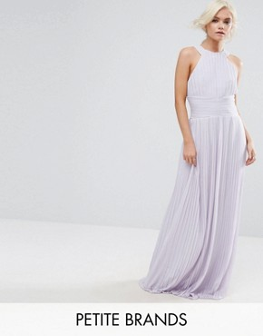 photo High Neck Pleated Maxi Dress by TFNC Petite WEDDING, color Lilac - Image 1